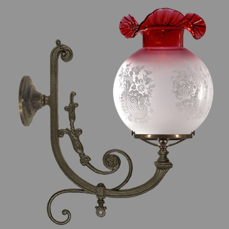 Large Victorian Wall Light Antique Finish Ruby Frill Glass.
