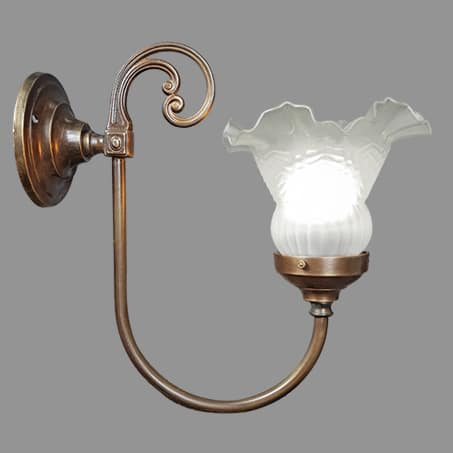 Victorian wall light small frill glass.