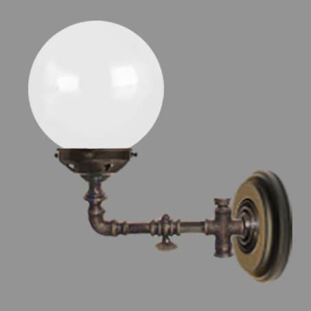 Wall Light Victorian Gas Tap 150mm Opal Glass.