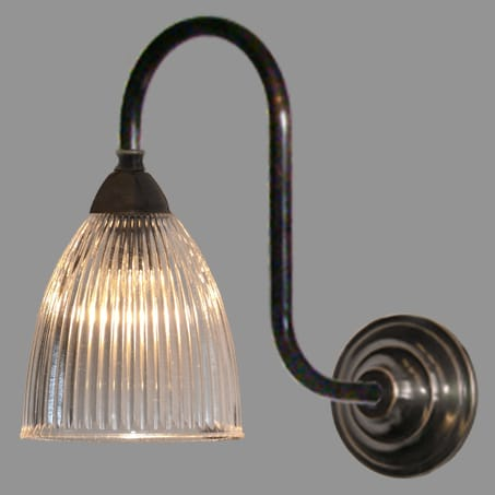 Single Antique Swan Neck wall light with Long Holophane Dome