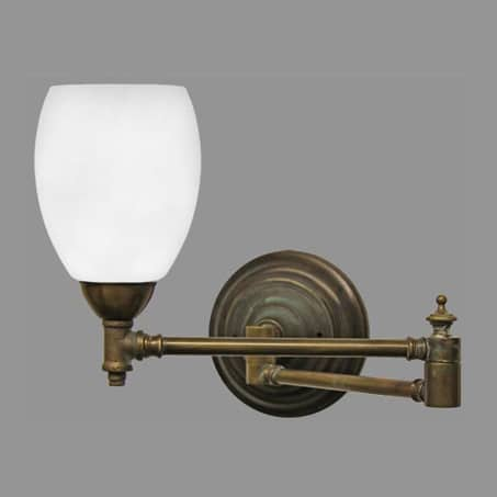Victorian Wall Light Antique Double Swivel Arm Opal Glass