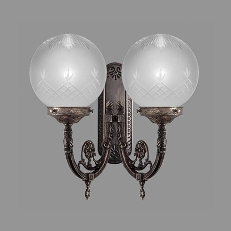 Double Antique Victorian Wall Light etched globe.
